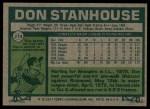 1977 Topps #274  Don Stanhouse  Back Thumbnail