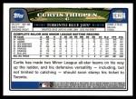 2008 Topps Updates #284  Curtis Thigpen  Back Thumbnail