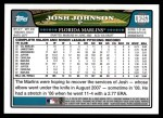 2008 Topps Updates #253  Josh Johnson  Back Thumbnail