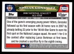 2008 Topps Updates #229   -  Adrian Gonzalez All-Star Back Thumbnail