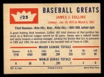 1960 Fleer #25  Jimmy Collins  Back Thumbnail