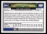 2008 Topps Updates #207  Alberto Gonzalez  Back Thumbnail