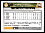 2008 Topps Updates #198  Andy LaRoche  Back Thumbnail