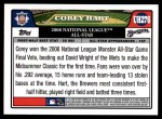 2008 Topps Updates #276   -  Corey Hart All-Star Back Thumbnail
