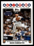 2008 Topps Updates #316   -  Ben Sheets All-Star Front Thumbnail