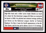 2008 Topps Updates #316   -  Ben Sheets All-Star Back Thumbnail