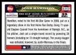 2008 Topps Updates #202  Josh Hamilton  Back Thumbnail