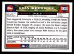 2008 Topps Updates #315  Sean Rodriguez  Back Thumbnail