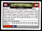 2008 Topps Updates #315  Sean Rodriguez  Back Thumbnail