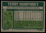 1977 Topps #369  Terry Humphrey  Back Thumbnail