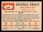 1960 Fleer #69  Waite Hoyt  Back Thumbnail