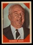 1960 Fleer #73  Warren Giles  Front Thumbnail