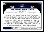 2009 Topps Update #55  Ben Zobrist  Back Thumbnail