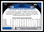2009 Topps Update #99  Kevin Gregg  Back Thumbnail