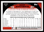 2009 Topps Update #110  Justin Masterson  Back Thumbnail