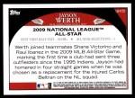 2009 Topps Update #151  Jayson Werth  Back Thumbnail