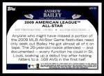 2009 Topps Update #161  Andrew Bailey  Back Thumbnail