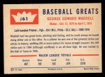 1960 Fleer #61  Rube Waddell  Back Thumbnail