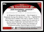 2009 Topps Update #301  Ryan Zimmerman  Back Thumbnail