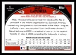 2009 Topps Update #220  Matt LaPorta  Back Thumbnail