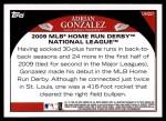 2009 Topps Update #221  Adrian Gonzalez  Back Thumbnail