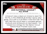 2009 Topps Update #232  Tim Lincecum  Back Thumbnail