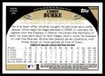 2009 Topps Update #206  Chris Burke  Back Thumbnail