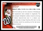 2010 Topps Update #55  Stephen Strasburg  Back Thumbnail