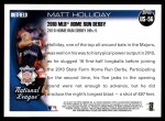 2010 Topps Update #56  Matt Holliday  Back Thumbnail