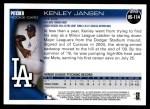 2010 Topps Update #114  Kenley Jansen  Back Thumbnail