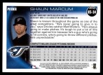 2010 Topps Update #34  Shaun Marcum  Back Thumbnail