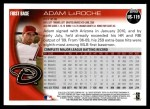 2010 Topps Update #119  Adam LaRoche  Back Thumbnail