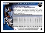 2010 Topps Update #111  Willie Bloomquist  Back Thumbnail
