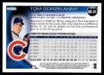 2010 Topps Update #51  Tom Gorzelanny  Back Thumbnail