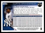 2010 Topps Update #110  Curtis Granderson  Back Thumbnail