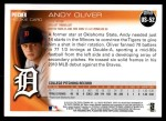 2010 Topps Update #52  Andy Oliver  Back Thumbnail