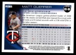 2010 Topps Update #86  Matt Guerrier  Back Thumbnail
