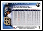 2010 Topps Update #60  Miguel Tejada  Back Thumbnail