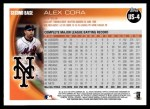2010 Topps Update #4  Alex Cora  Back Thumbnail