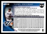 2010 Topps Update #98  Yunel Escobar  Back Thumbnail
