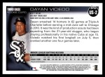 2010 Topps Update #2  Dayan Viciedo  Back Thumbnail