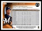 2010 Topps Update #32  Doug Davis  Back Thumbnail