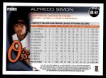 2010 Topps Update #61  Alfredo Simon  Back Thumbnail