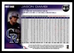 2010 Topps Update #71  Jason Giambi  Back Thumbnail