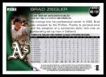 2010 Topps Update #113  Brad Ziegler  Back Thumbnail