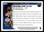 2010 Topps Update #161  Matt Holliday  Back Thumbnail