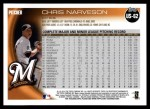 2010 Topps Update #62  Chris Narveson  Back Thumbnail