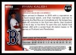 2010 Topps Update #323  Ryan Kalish  Back Thumbnail