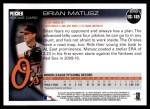 2010 Topps Update #185  Brian Matusz  Back Thumbnail