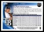 2010 Topps Update #273  John Jaso  Back Thumbnail